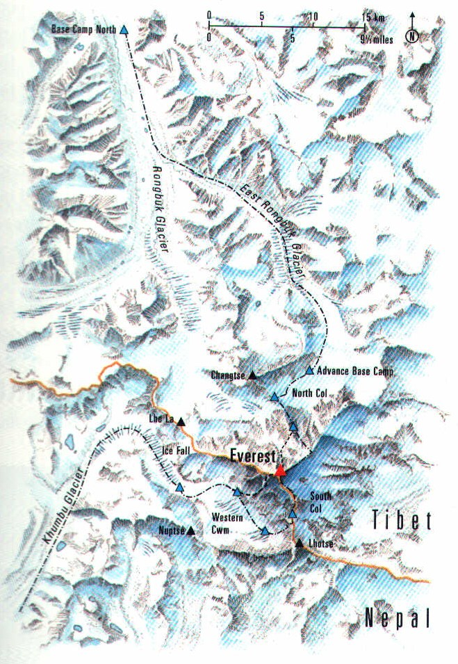 Everest map with 2 main routes