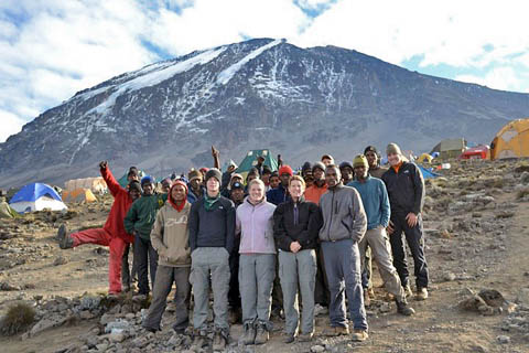 Goltermann Family while climbing Kilimanjaro on 7summits.com Expeditions trip