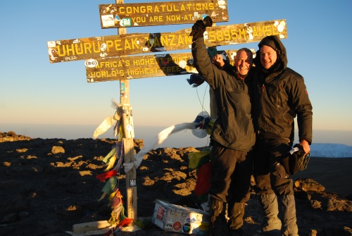 Jaap and Herbert on the summit of Kilimanjaro, 7summits.com expeditions
