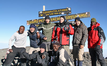Patrick Hermans and team on summit kilimanjaro, 7summits.com expeditions