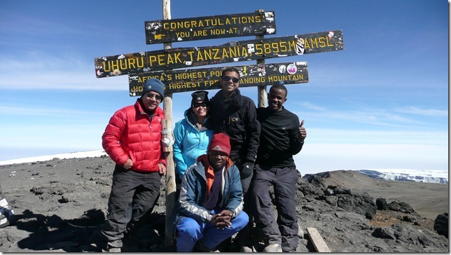 Prasanth,  Sheryl and team on the summit of Kilimanjaro, 7summits.com expeditions