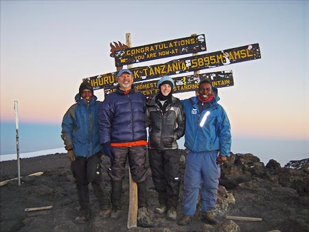 Wayne Funk and his grandson Elias on the summit of Kilimanjaro, 7summits.com Kilimanjaro