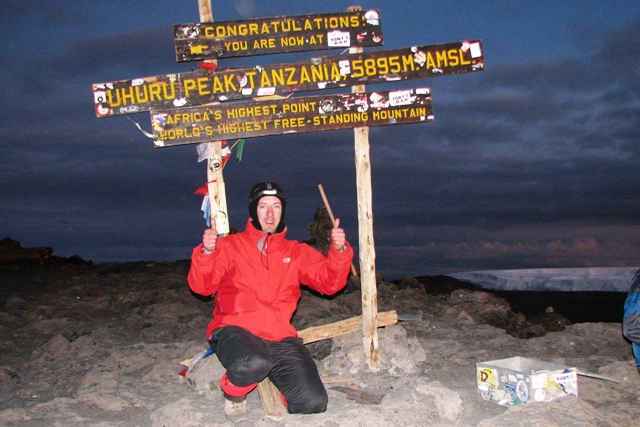 Wim de backer on the summit of Kilimanjaro with 7summits.com expeditions
